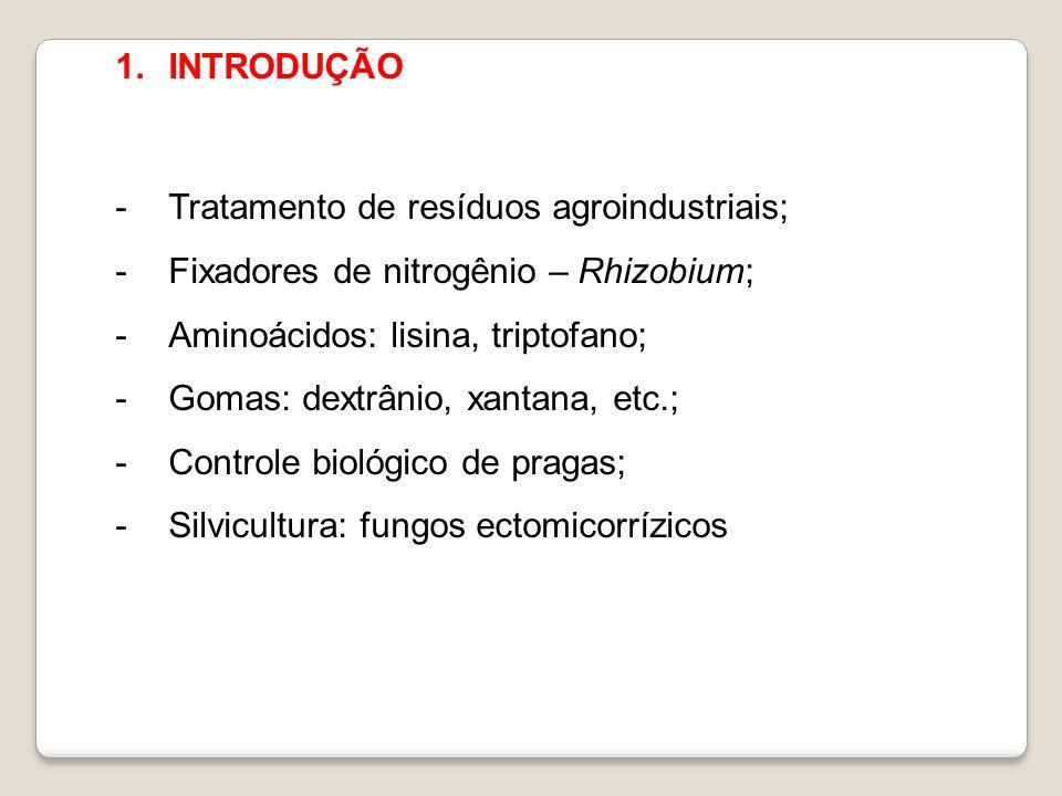 INTRODUÇÃO Tratamento de resíduos agroindustriais; Fixadores de nitrogênio – Rhizobium; Aminoácidos: lisina, triptofano;