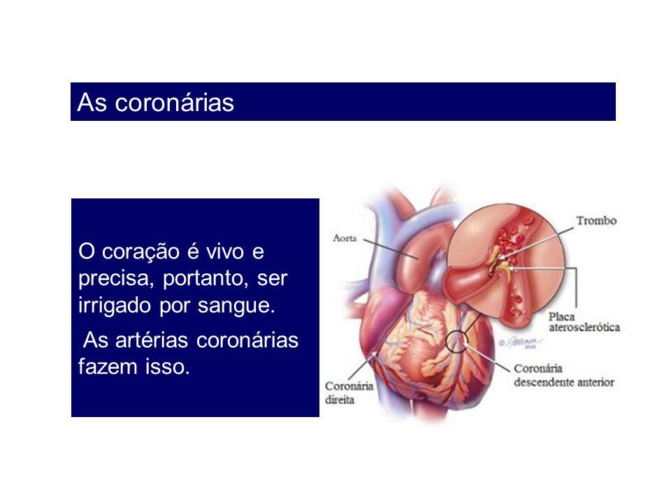 As coronárias O coração é vivo e precisa, portanto, ser irrigado por sangue.