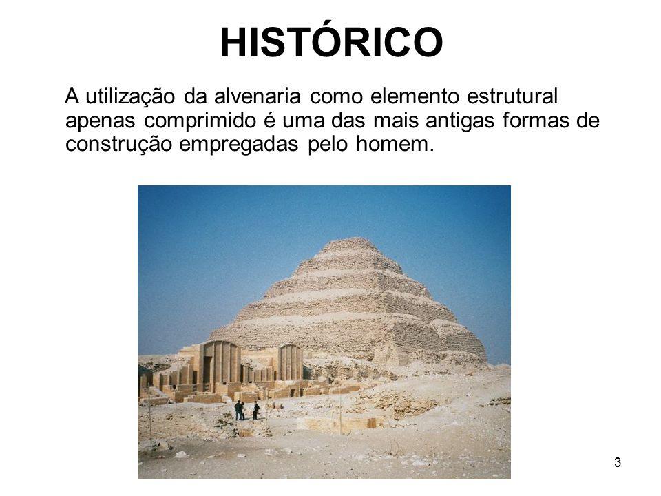 HISTÓRICO A utilização da alvenaria como elemento estrutural apenas comprimido é uma das mais antigas formas de construção empregadas pelo homem.