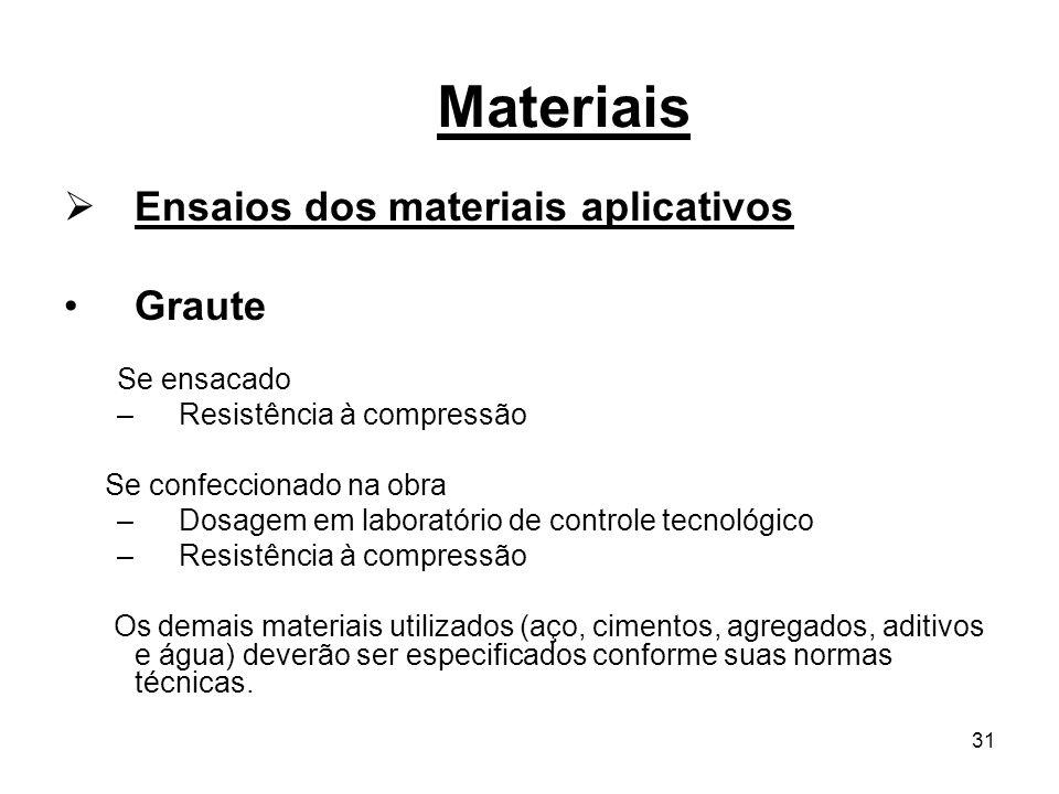 Materiais Ensaios dos materiais aplicativos Graute Se ensacado
