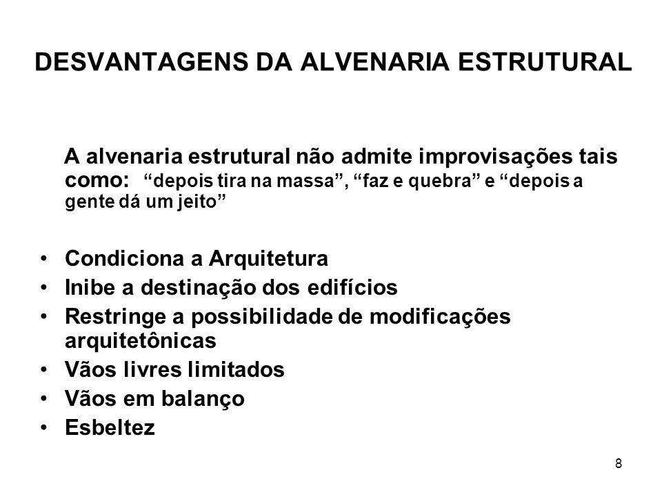 DESVANTAGENS DA ALVENARIA ESTRUTURAL