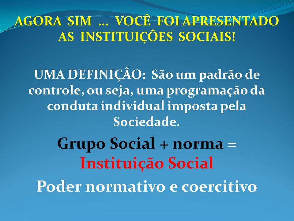 Grupo Social + norma = Instituição Social Poder normativo e coercitivo