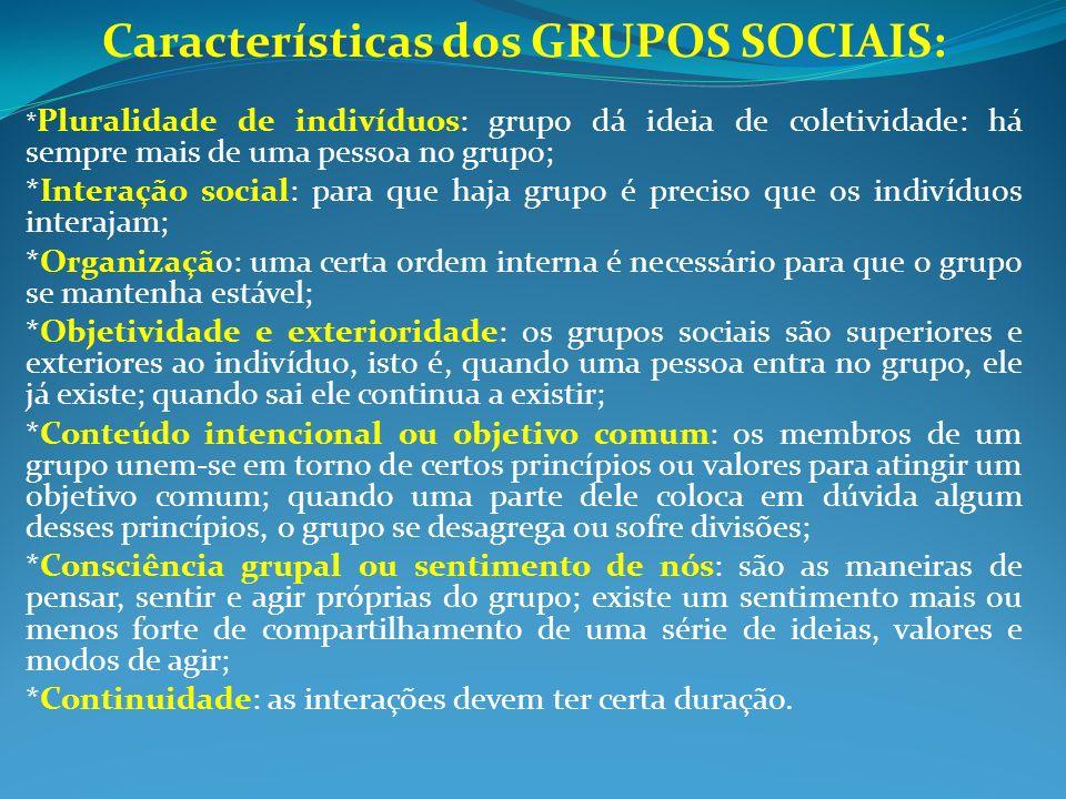 Características dos GRUPOS SOCIAIS: