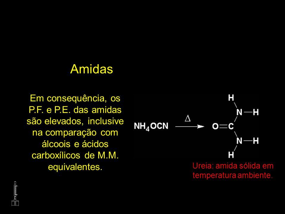 Ureia: amida sólida em temperatura ambiente.