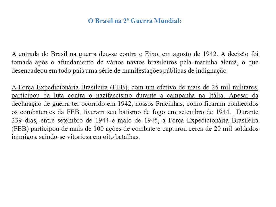 O Brasil na 2ª Guerra Mundial: