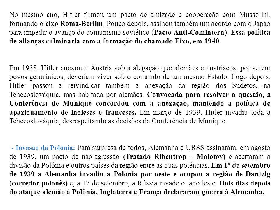 No mesmo ano, Hitler firmou um pacto de amizade e cooperação com Mussolini, formando o eixo Roma-Berlim. Pouco depois, assinou também um acordo com o Japão para impedir o avanço do comunismo soviético (Pacto Anti-Comintern). Essa política de alianças culminaria com a formação do chamado Eixo, em 1940.
