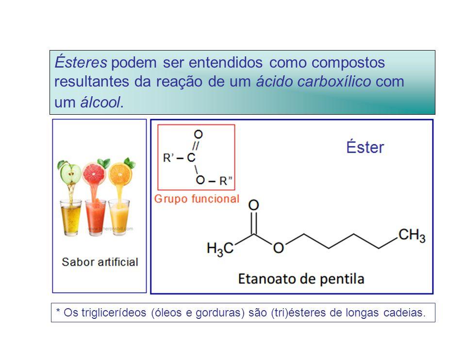 Ésteres podem ser entendidos como compostos resultantes da reação de um ácido carboxílico com um álcool.