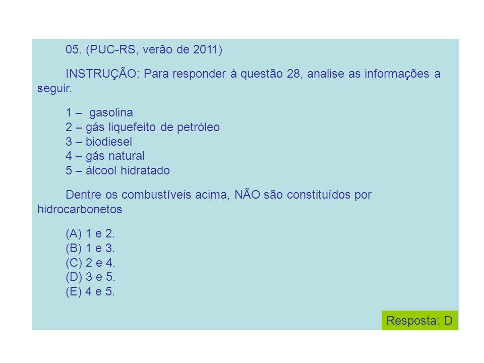 2 – gás liquefeito de petróleo 3 – biodiesel 4 – gás natural