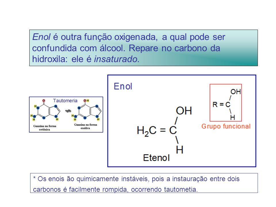 Enol é outra função oxigenada, a qual pode ser confundida com álcool