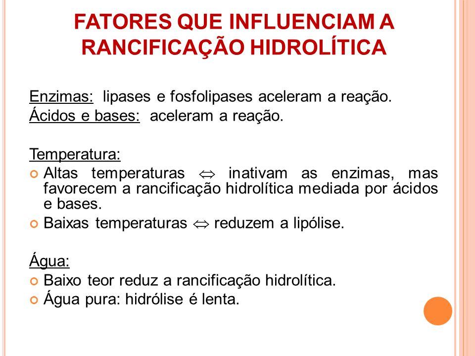 FATORES QUE INFLUENCIAM A RANCIFICAÇÃO HIDROLÍTICA