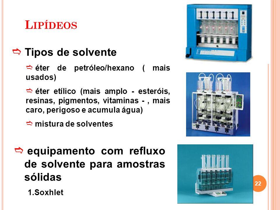 Lipídeos Tipos de solvente