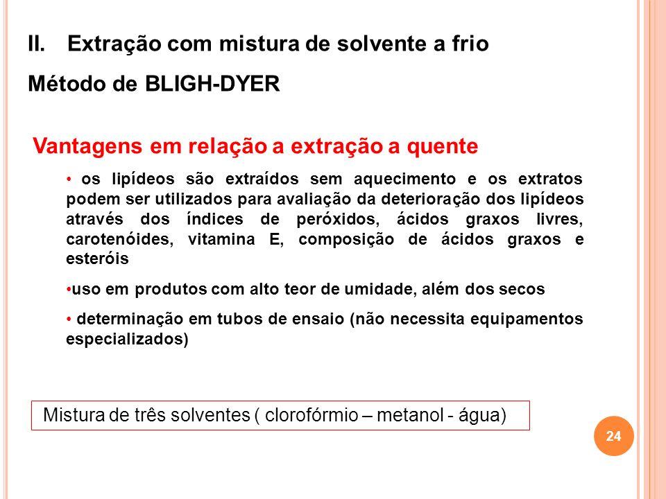 Extração com mistura de solvente a frio Método de BLIGH-DYER