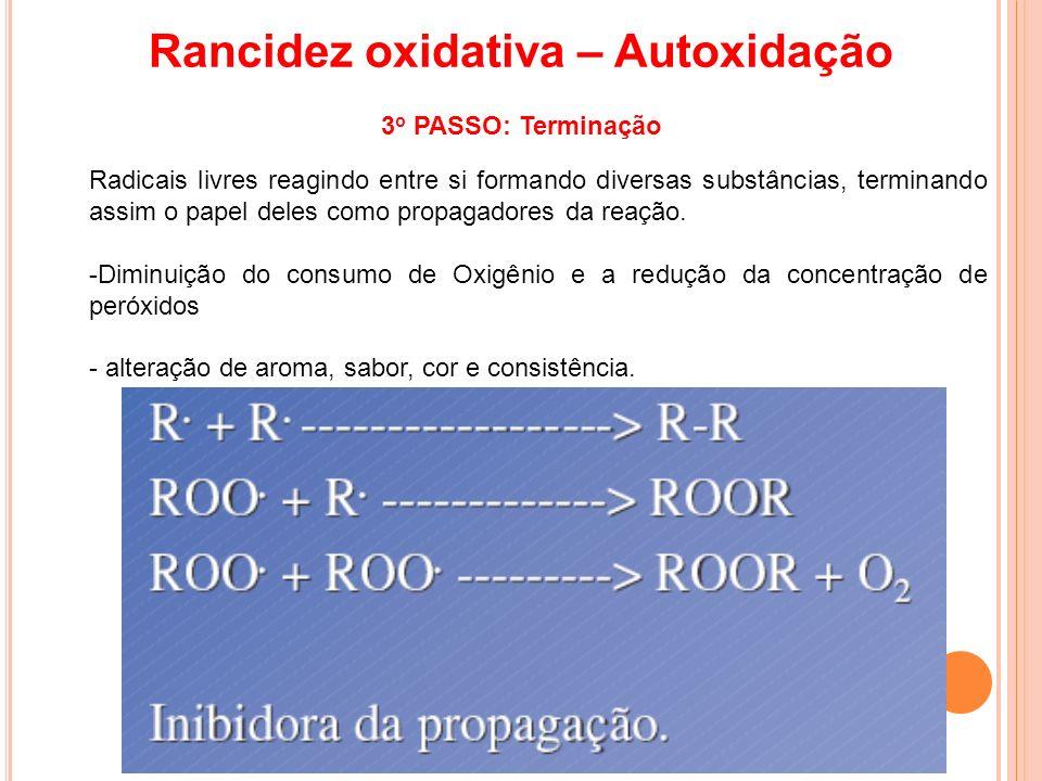 Rancidez oxidativa – Autoxidação 3o PASSO: Terminação