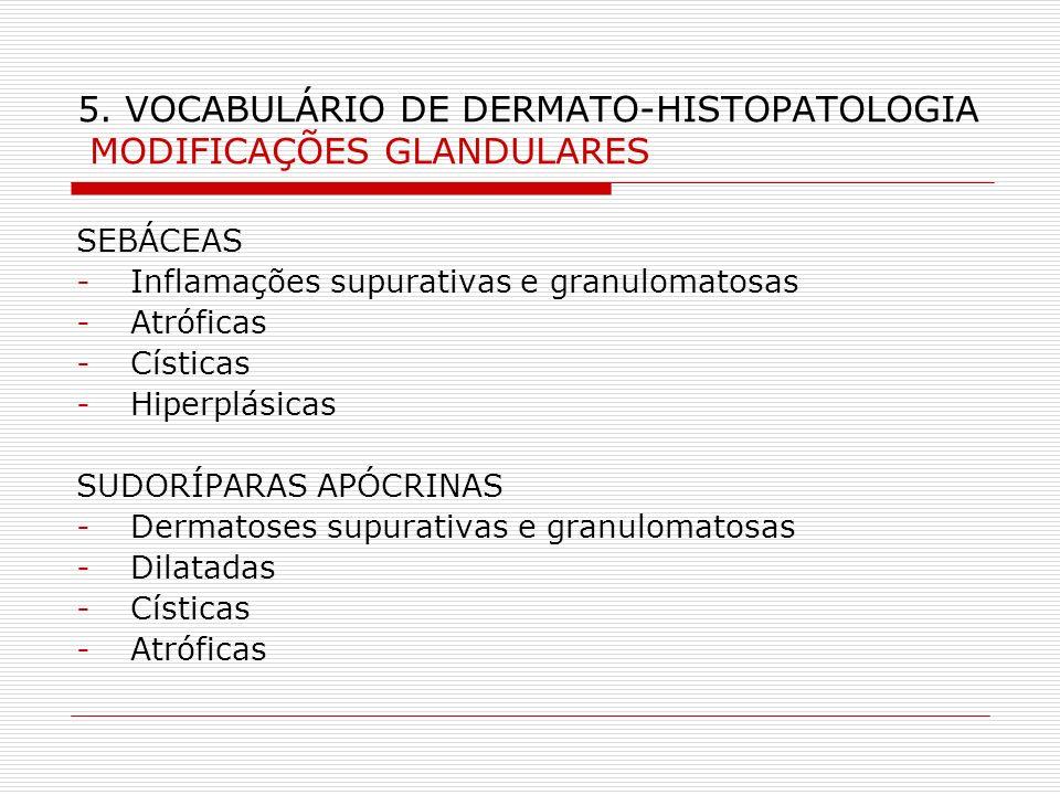 5. VOCABULÁRIO DE DERMATO-HISTOPATOLOGIA MODIFICAÇÕES GLANDULARES