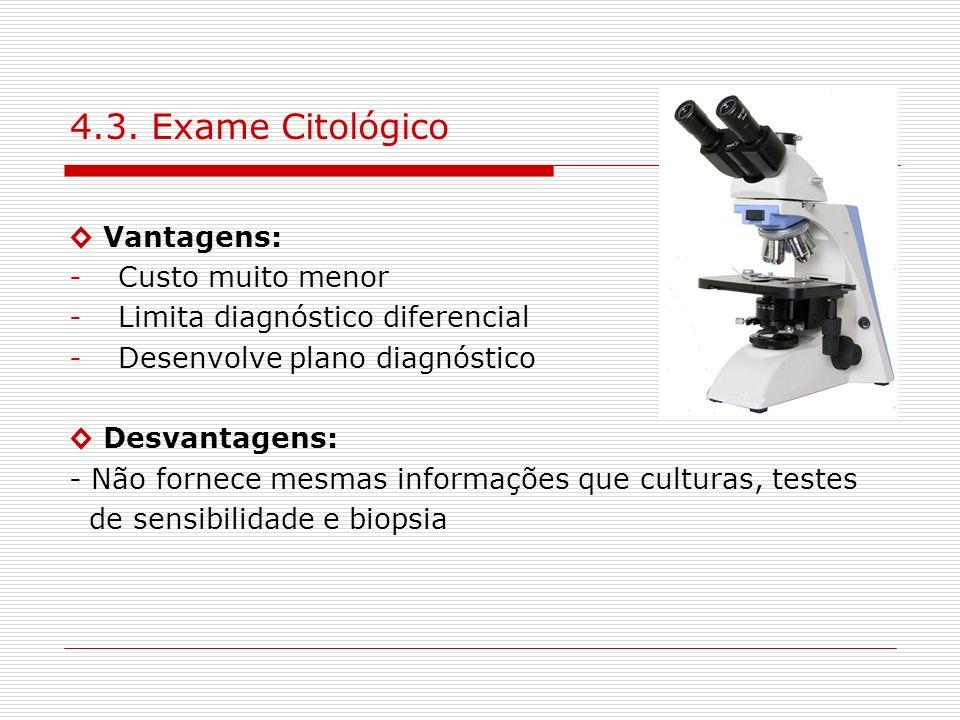 4.3. Exame Citológico ◊ Vantagens: Custo muito menor