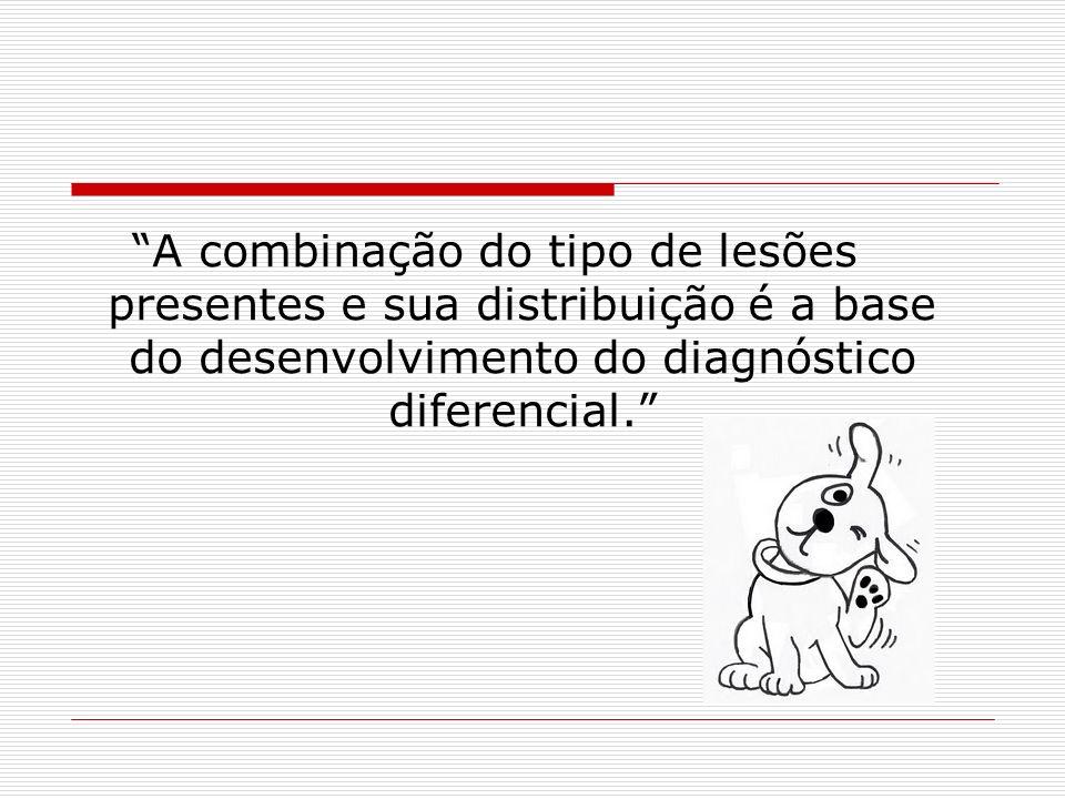 A combinação do tipo de lesões presentes e sua distribuição é a base do desenvolvimento do diagnóstico diferencial.