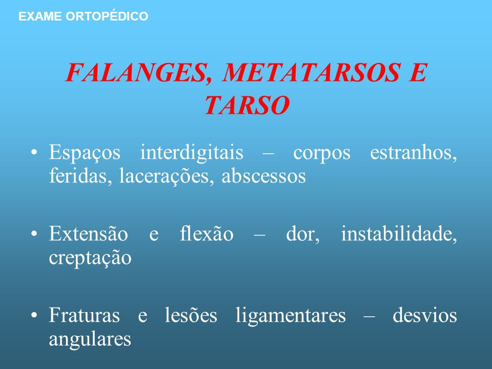 FALANGES, METATARSOS E TARSO