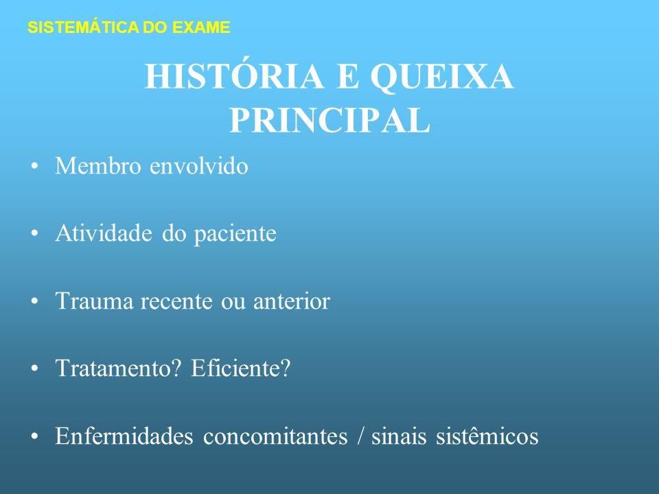 HISTÓRIA E QUEIXA PRINCIPAL