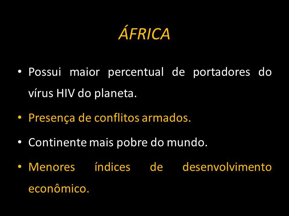 ÁFRICA Possui maior percentual de portadores do vírus HIV do planeta.