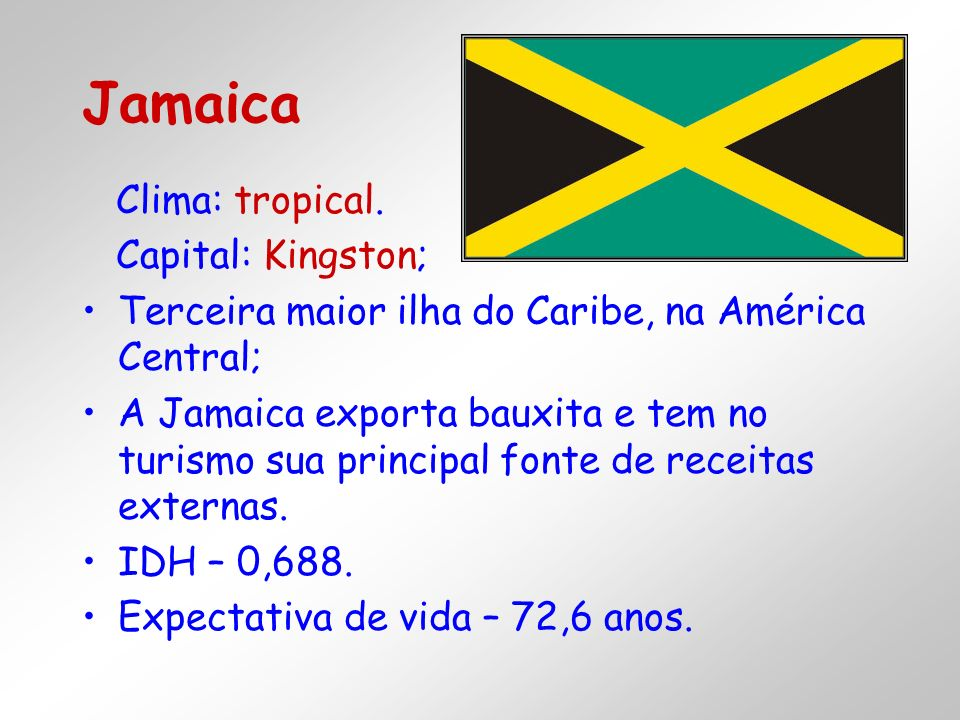 Jamaica Clima: tropical. Capital: Kingston;