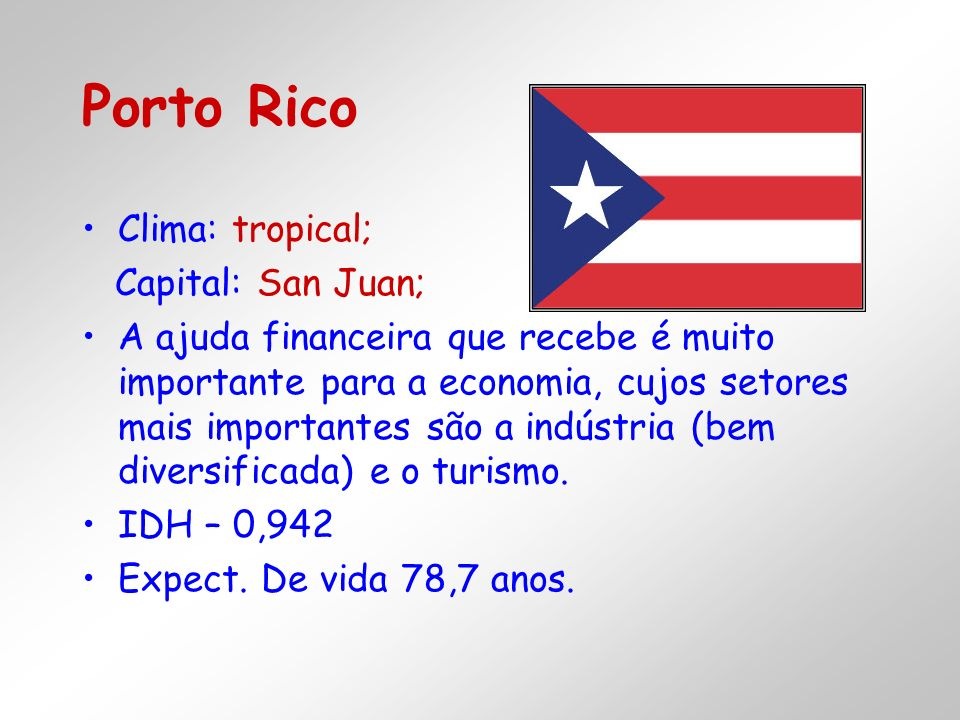 Porto Rico Clima: tropical; Capital: San Juan;