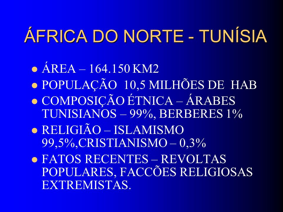 ÁFRICA DO NORTE - TUNÍSIA