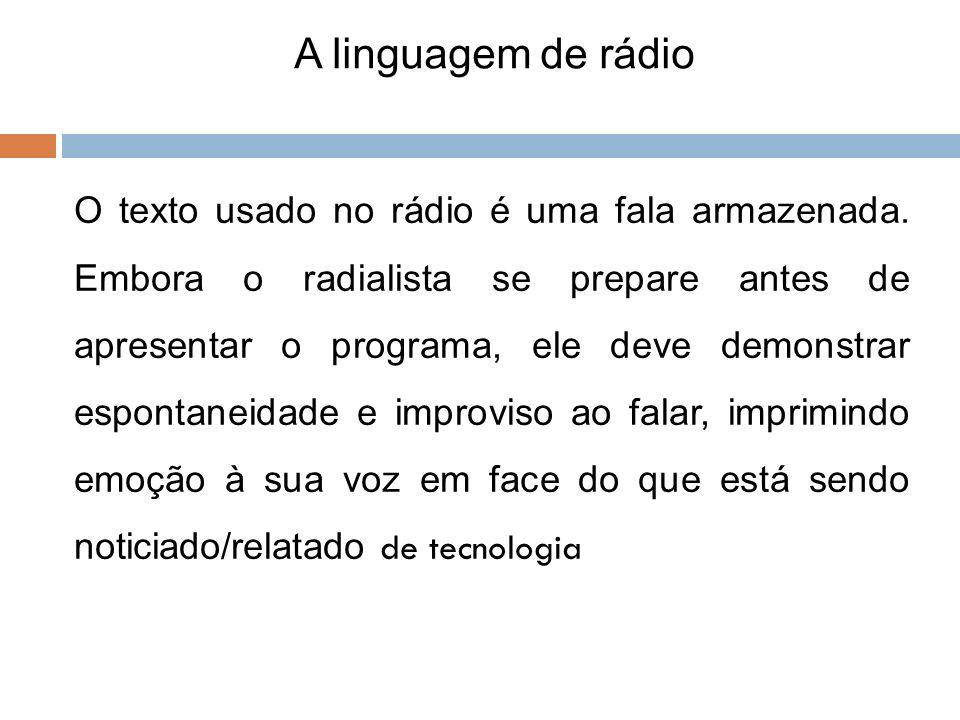 A linguagem de rádio