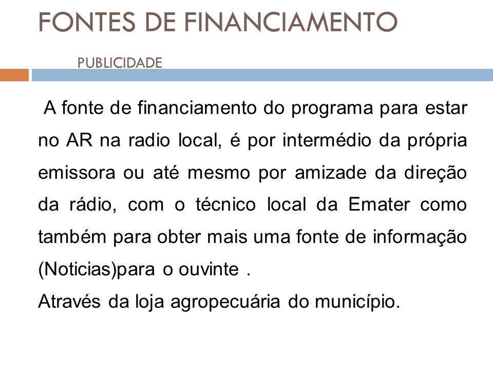 FONTES DE FINANCIAMENTO PUBLICIDADE