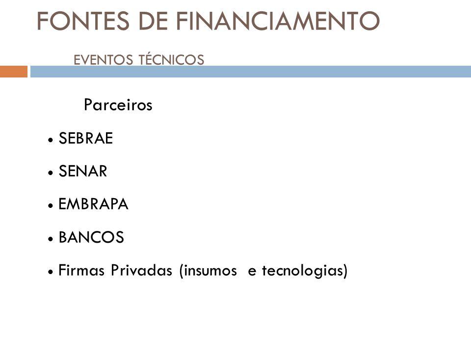 FONTES DE FINANCIAMENTO EVENTOS TÉCNICOS