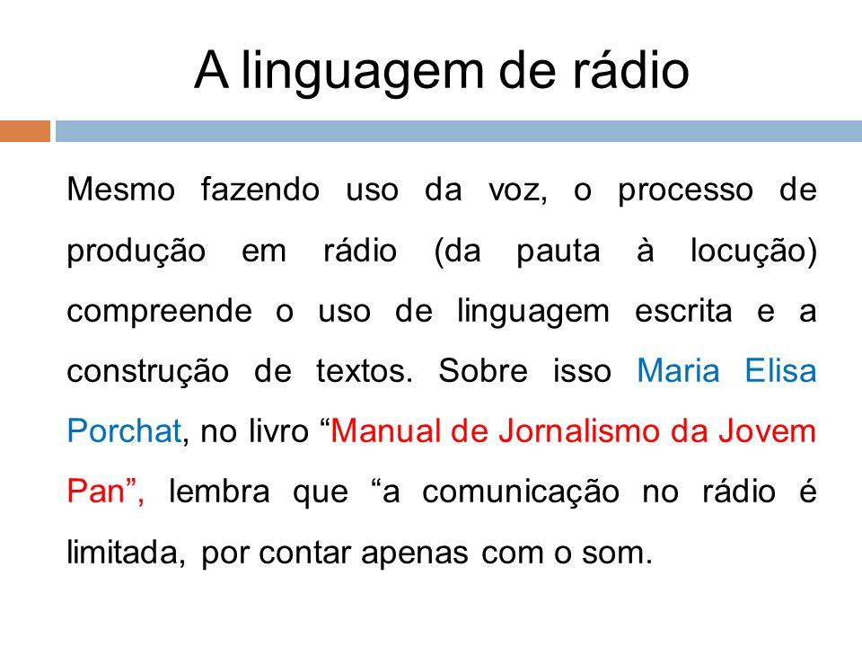 99. A linguagem de rádio.