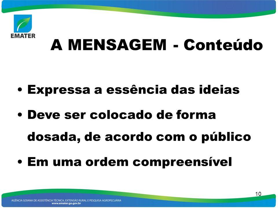 A MENSAGEM - Conteúdo Expressa a essência das ideias