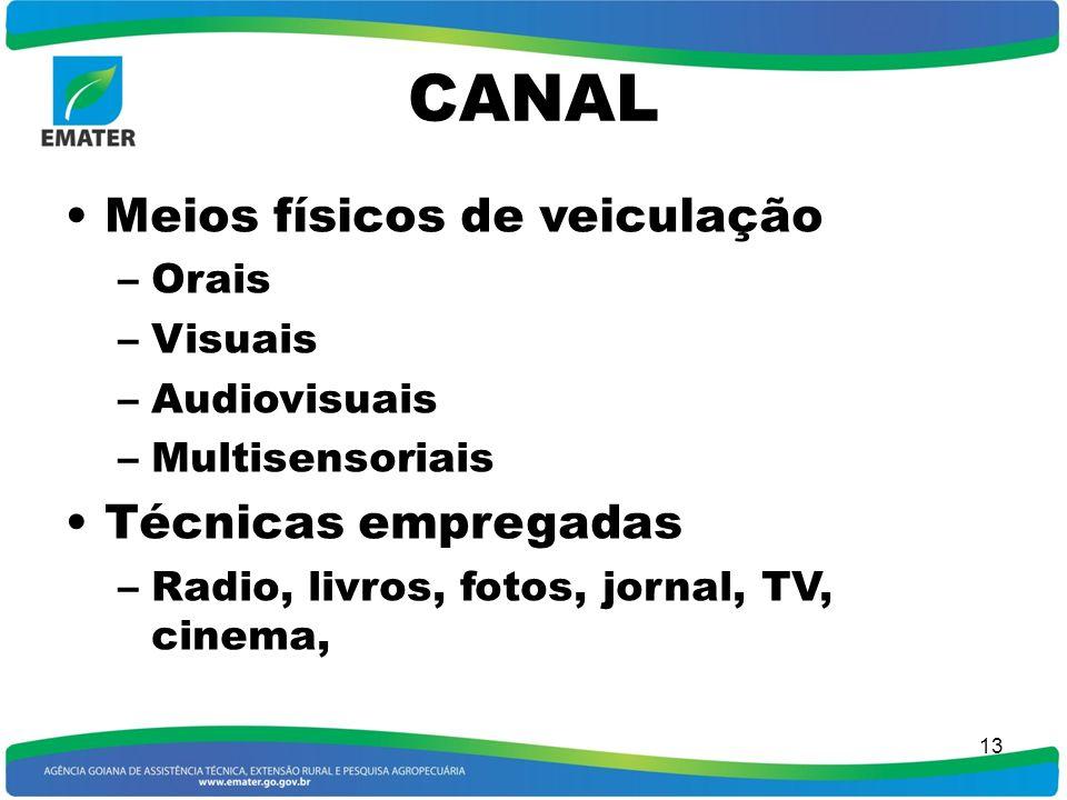 CANAL Meios físicos de veiculação Técnicas empregadas Orais Visuais