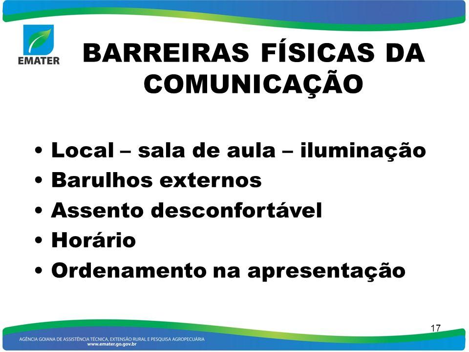 BARREIRAS FÍSICAS DA COMUNICAÇÃO