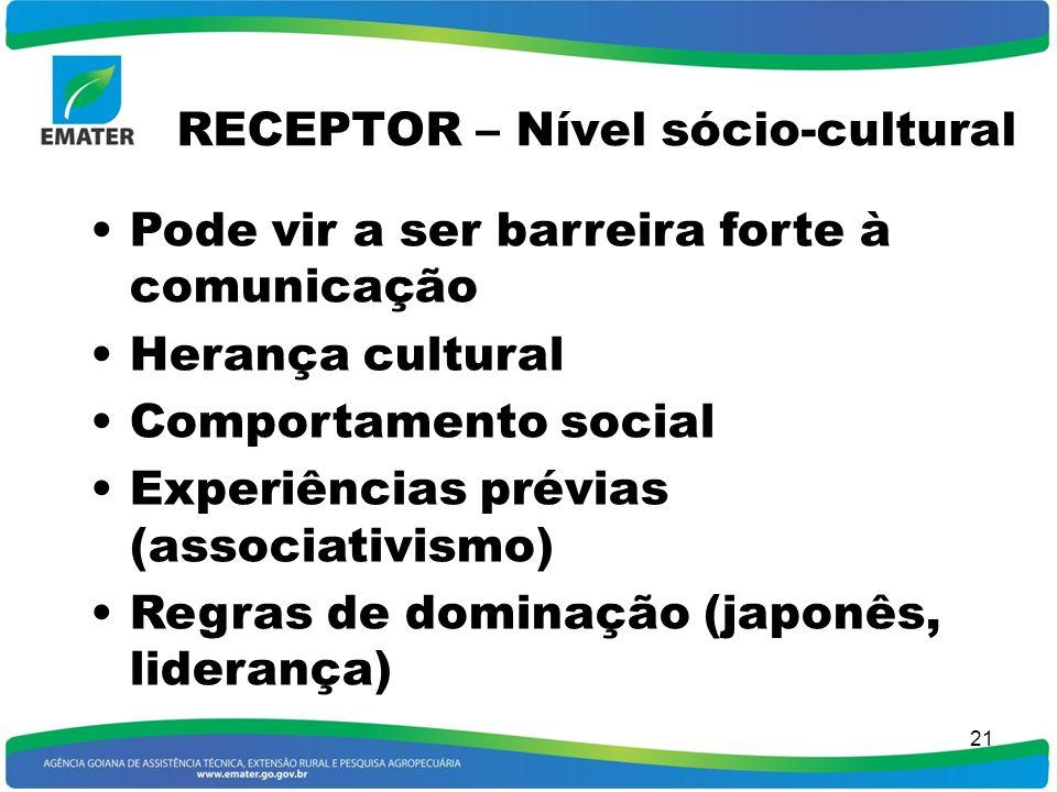 RECEPTOR – Nível sócio-cultural