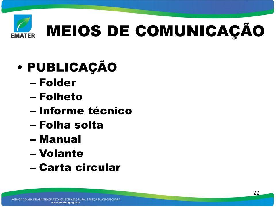 MEIOS DE COMUNICAÇÃO PUBLICAÇÃO Folder Folheto Informe técnico