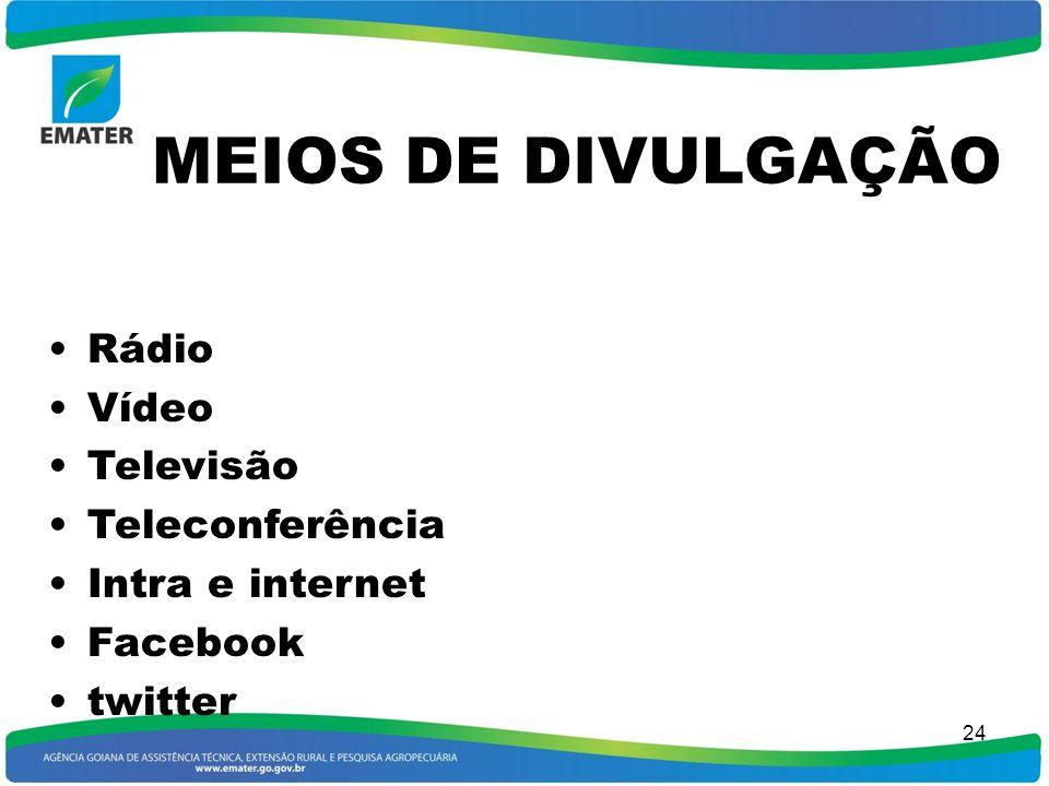 MEIOS DE DIVULGAÇÃO Rádio Vídeo Televisão Teleconferência