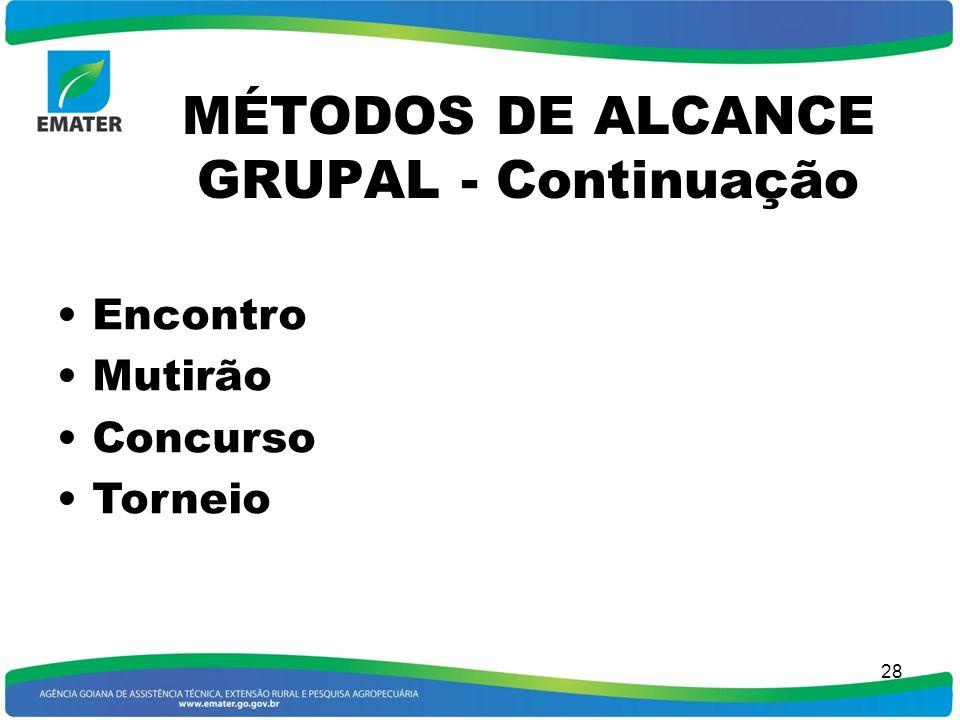 MÉTODOS DE ALCANCE GRUPAL - Continuação