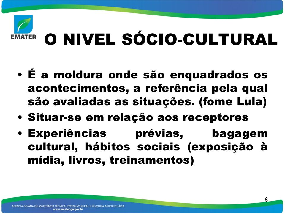 O NIVEL SÓCIO-CULTURAL