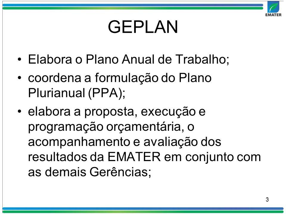 GEPLAN Elabora o Plano Anual de Trabalho;