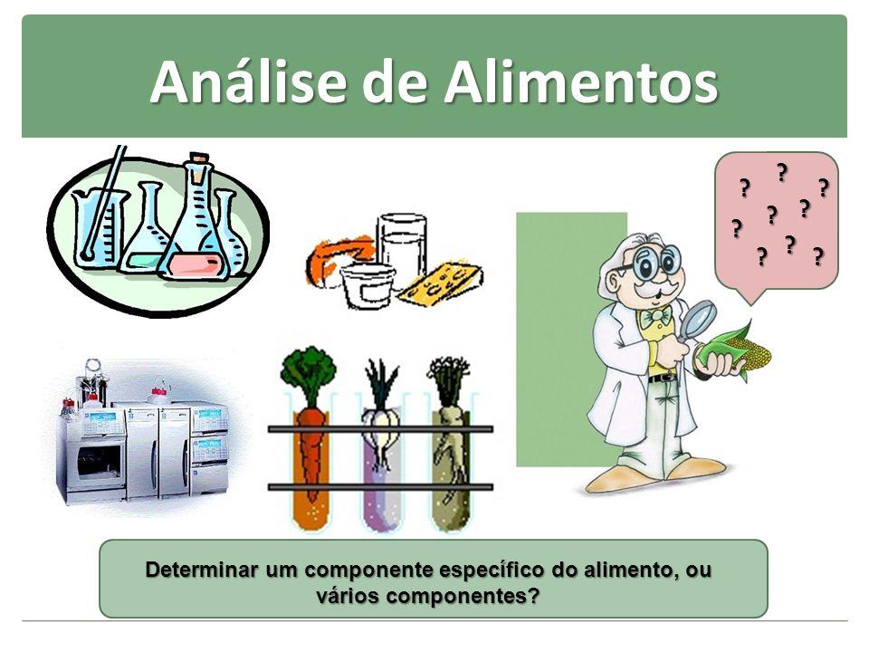 Análise de Alimentos Determinar um componente específico do alimento, ou vários componentes