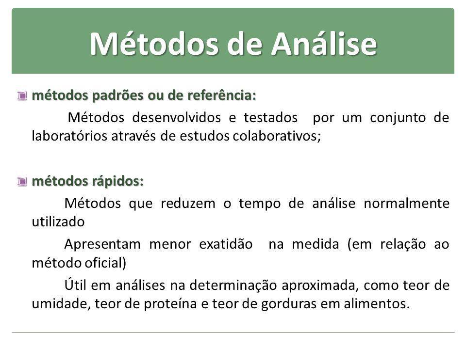 Métodos de Análise métodos padrões ou de referência: