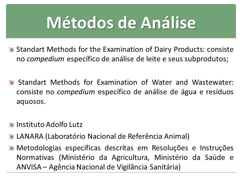 Métodos de AnáliseStandart Methods for the Examination of Dairy Products: consiste no compedium específico de análise de leite e seus subprodutos;
