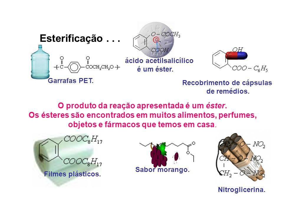 Recobrimento de cápsulas O produto da reação apresentada é um éster.