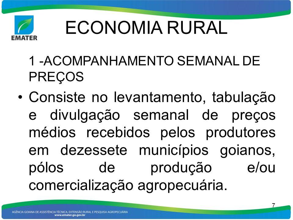 ECONOMIA RURAL 1 -ACOMPANHAMENTO SEMANAL DE PREÇOS.
