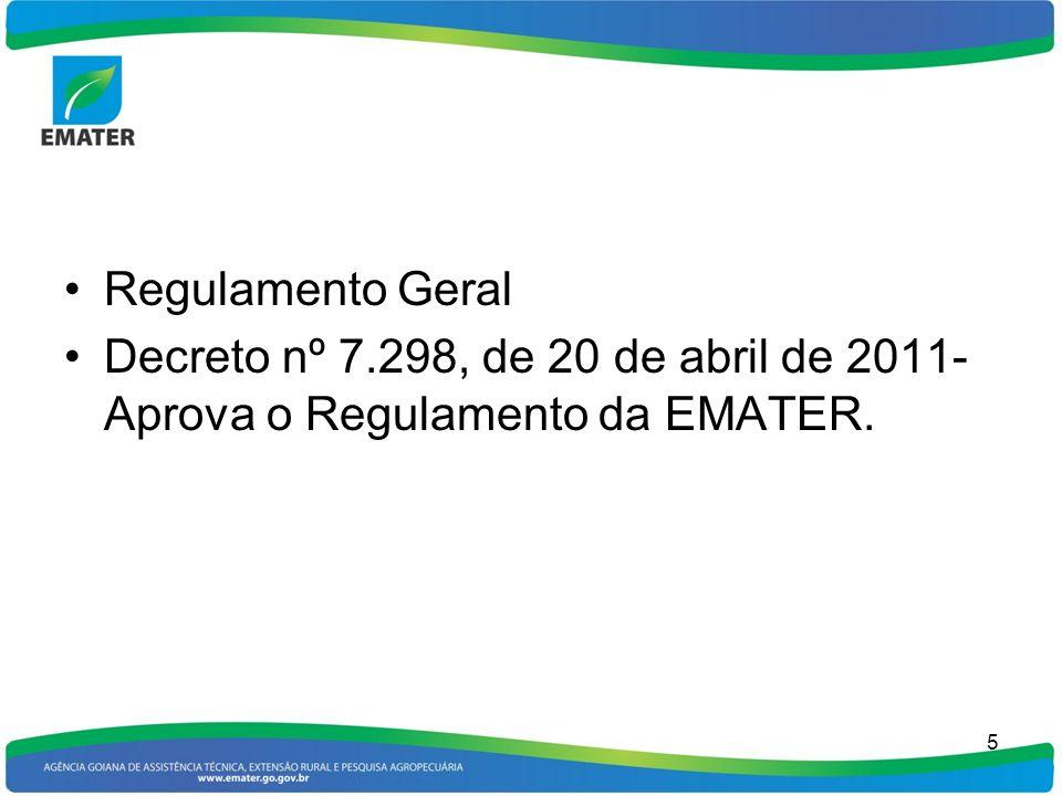 Regulamento Geral Decreto nº 7.298, de 20 de abril de 2011- Aprova o Regulamento da EMATER.