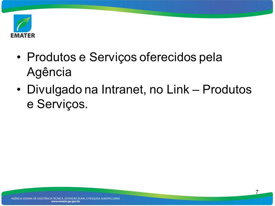 Produtos e Serviços oferecidos pela Agência