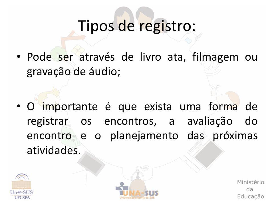 Tipos de registro: Pode ser através de livro ata, filmagem ou gravação de áudio;