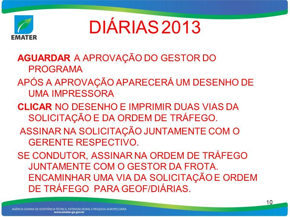 DIÁRIAS 2013 AGUARDAR A APROVAÇÃO DO GESTOR DO PROGRAMA