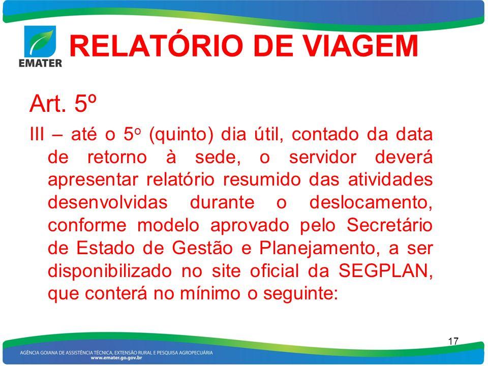 RELATÓRIO DE VIAGEM Art. 5º
