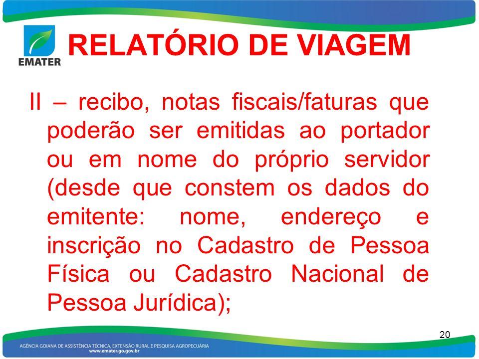 RELATÓRIO DE VIAGEM